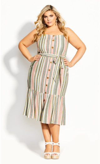 Wild Stripe Dress - sage
