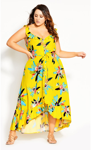 Elba Frill Maxi Dress - yellow