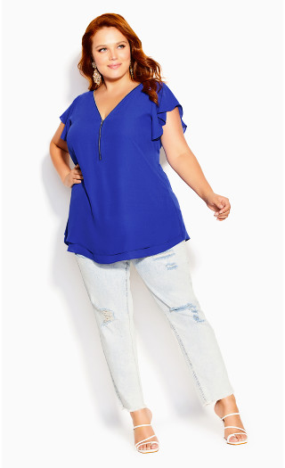 Zip Fling Top - cornflower