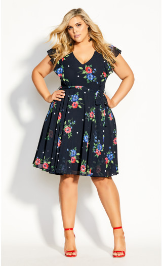 Floating Bouquet Dress - black