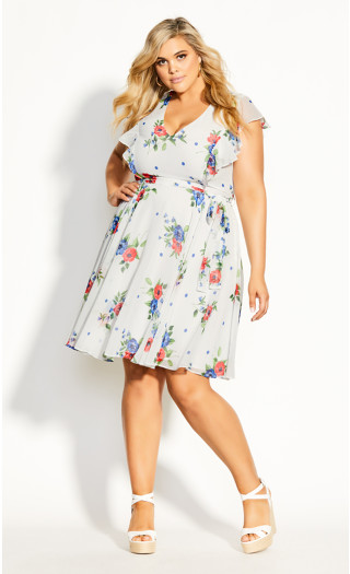 Poppy Floral Dress - white