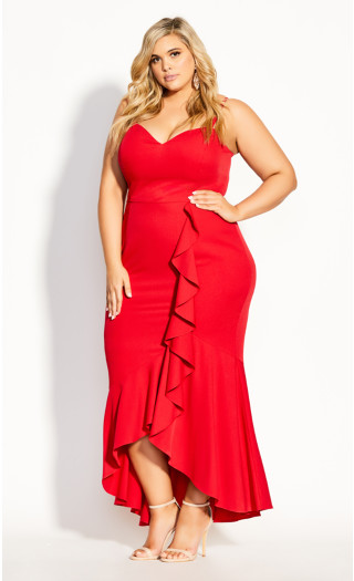 Ruffle Delight Maxi Dress - red