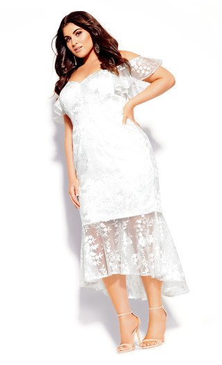 Lace Aflutter Dress - ivory