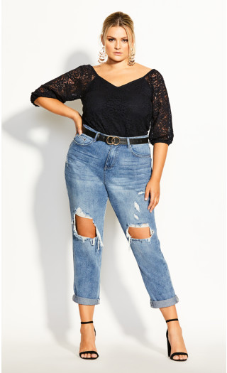 Lace Elbow Sleeve Top - black