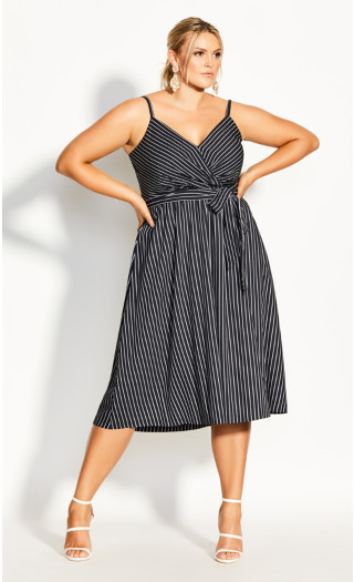 Elegant Stripe Dress - black