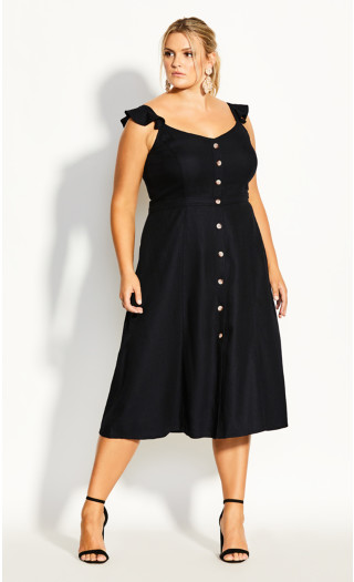Button Cheer Dress - black