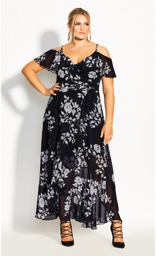 Night Garden Maxi Dress - black