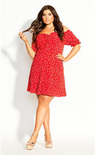 Tie Blossom Dress - red
