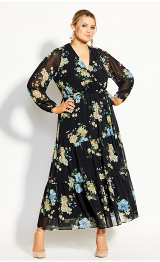Fair Floral Maxi Dress - black