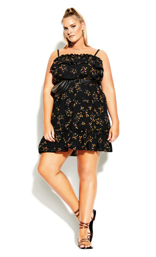 Spring Tide Floral Dress - black