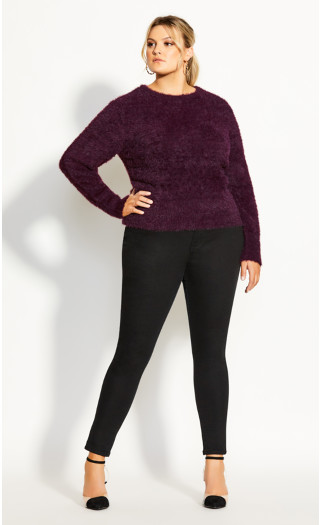 Fluffy Sweater - plum