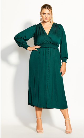 Shirred Satin Dress - jade