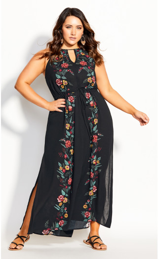 Boho Bouquet Maxi Dress - black