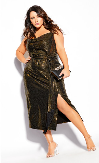Disco Fever Dress - gold