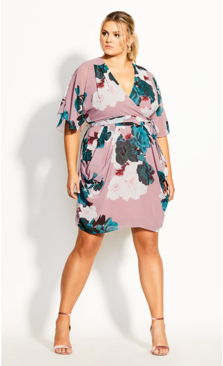 Rose Bud Floral Dress - black
