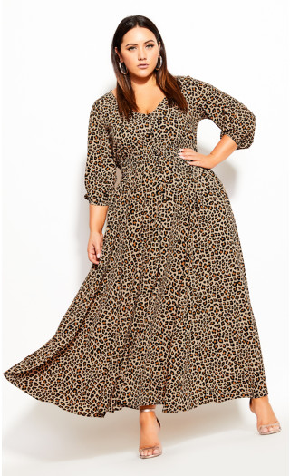 Cheetah Maxi Dress - sand