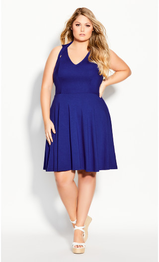 Strappy Halter Dress - cobalt