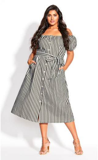 Stripe Remix Dress - ivory