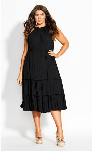 Fringe Tier Midi Dress - black