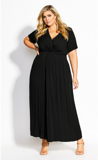 Knot Front Maxi Dress - black