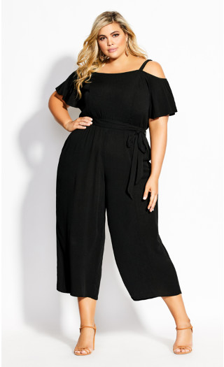 Cold Shoulder Jumpsuit - black