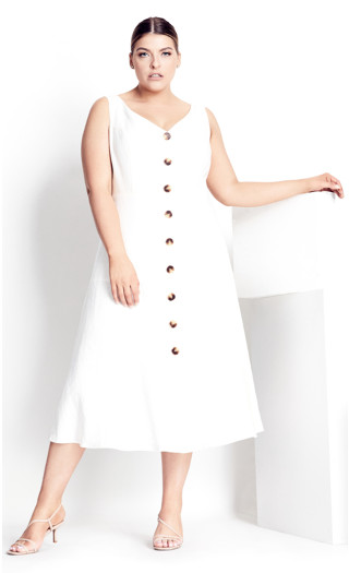 Linen Button Up Dress - white
