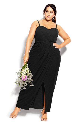 Sweet Drape Maxi Dress - black