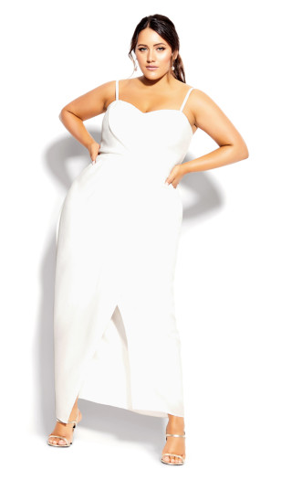 Sweet Drape Maxi Dress - ivory