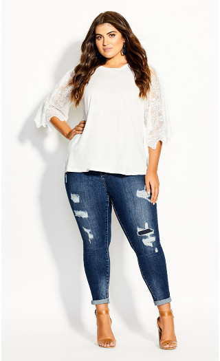 Embroidered Angel Top - ivory