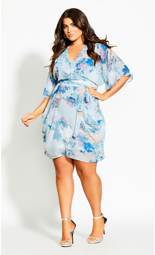 Kiku Floral Dress - blue