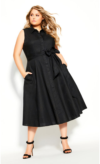 Shirt Detail Dress - black