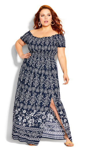 Paisley Spirit Maxi Dress - navy