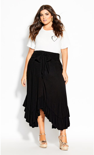 Ruffle Maxi Skirt - black
