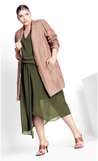 Delray Drape Dress - olive