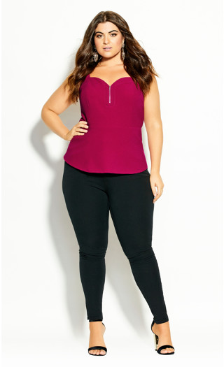 Sexy Zip Front Top - framboise
