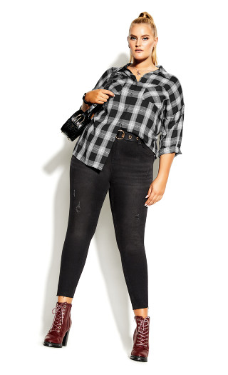 Youth Plaid Shirt - black