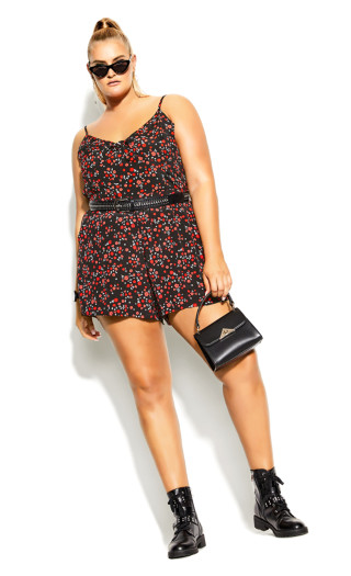 Ditsy Playsuit - black