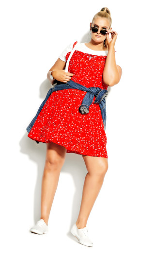 Mini Botanical Dress - red