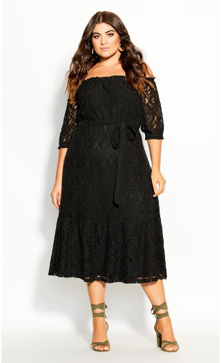 Time Lace Dress - black