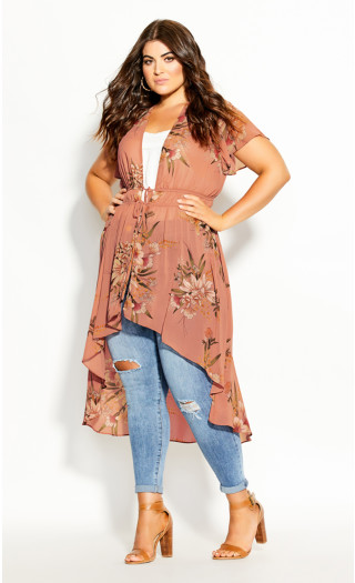 Sweet Floral Jacket - guava