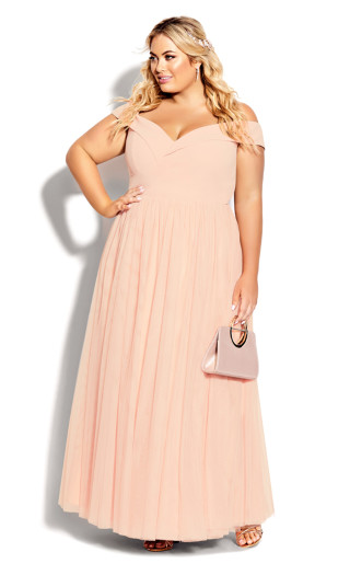 Rippled Tulle Maxi Dress - quartz