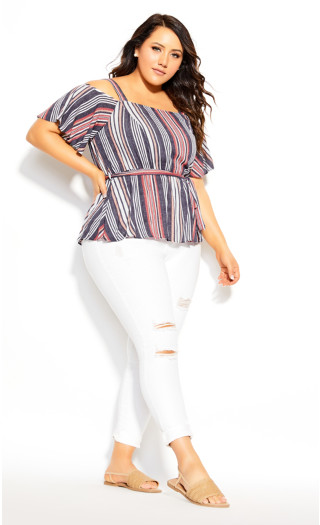 Rose Stripe Top - rose