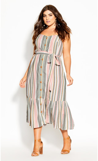 Wild Stripe Dress - natural