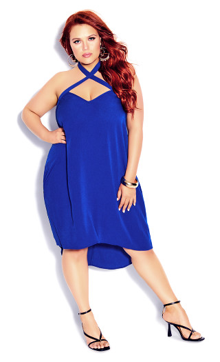 X Front Dress - electric blue