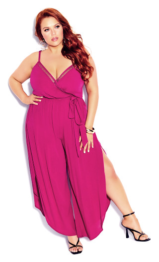 Split Leg Jumpsuit - hot pink