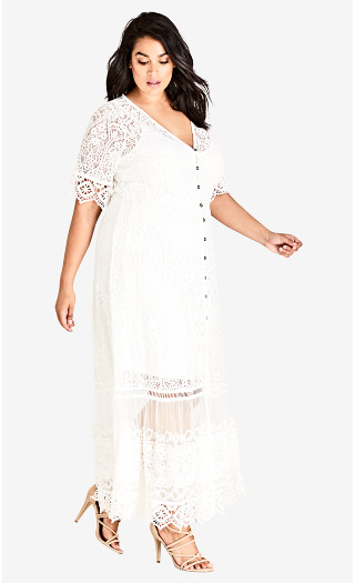 Summer Lace Maxi Dress - ivory