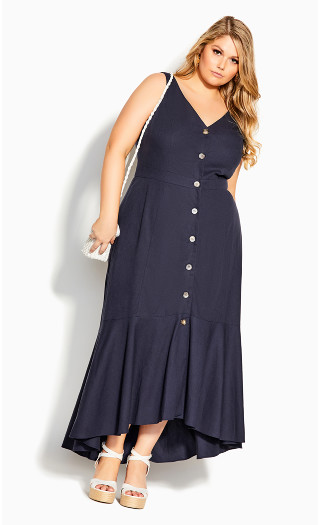 Sweetie Button Maxi Dress - navy