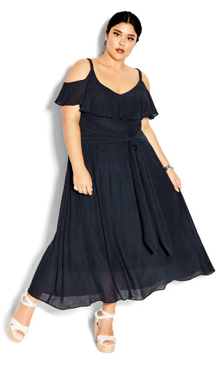 Romantic Tie Dress - navy
