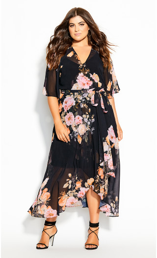 Tuscan Wrap Maxi Dress - black