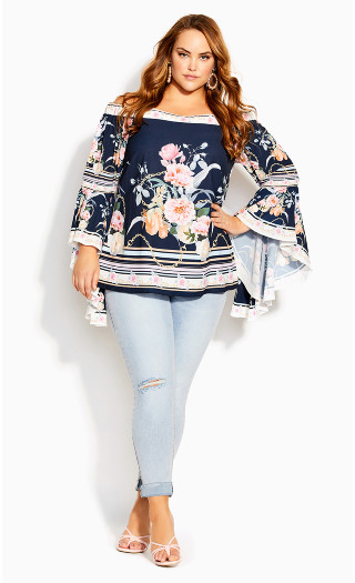 Florence Scarf Top - navy border